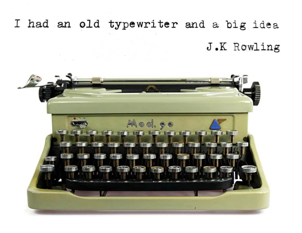 I had an old typewriter and a big idea - J K Rowling Typed on a 1950s Mod Typewriter