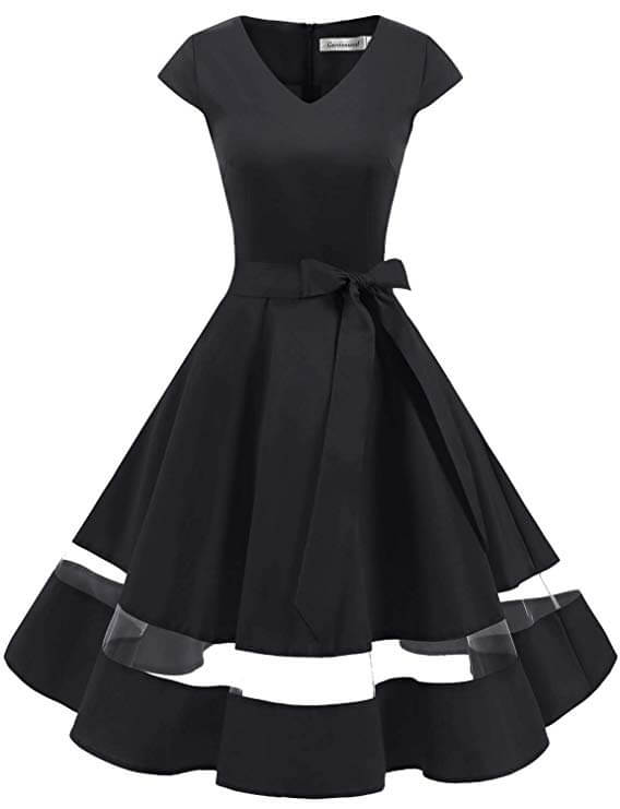 high tea party dresses black retro