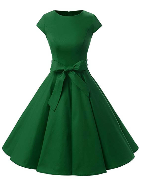 High tea party dresses, rockabilly style green
