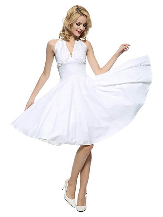 high tea party wedding dresses - white swing dress halter neck