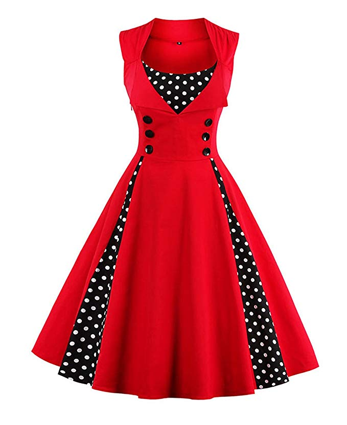 high tea party dresses red polka dot