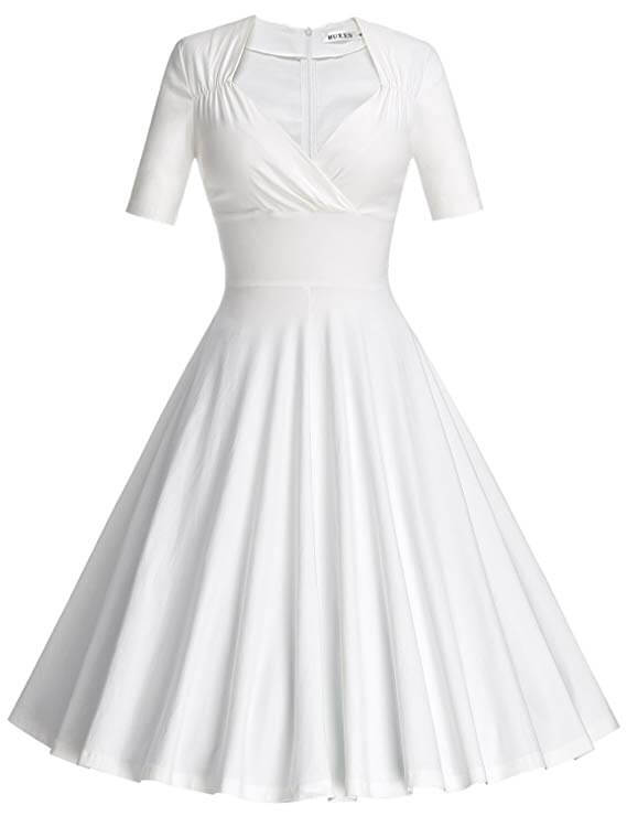 high tea party wedding dresses - white swing dress