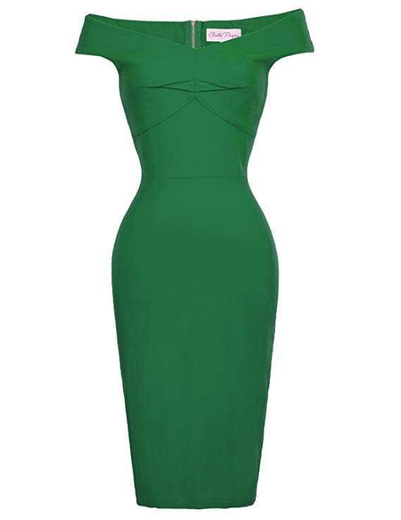 high tea party dresses Mad Men inspired green dress