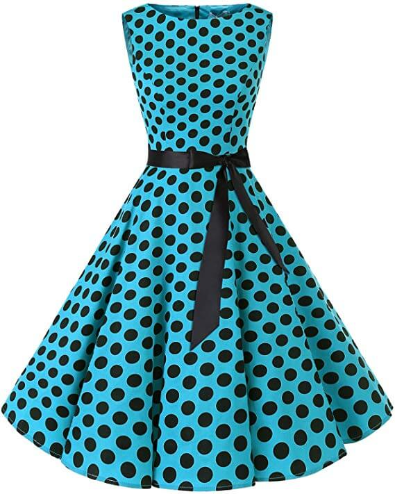 high tea party dresses - blue polka dot