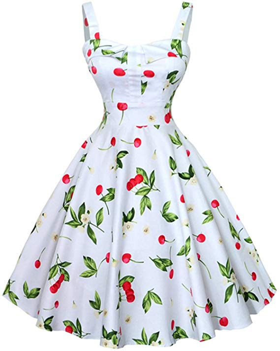 high tea party wedding dresses - cherry pattern