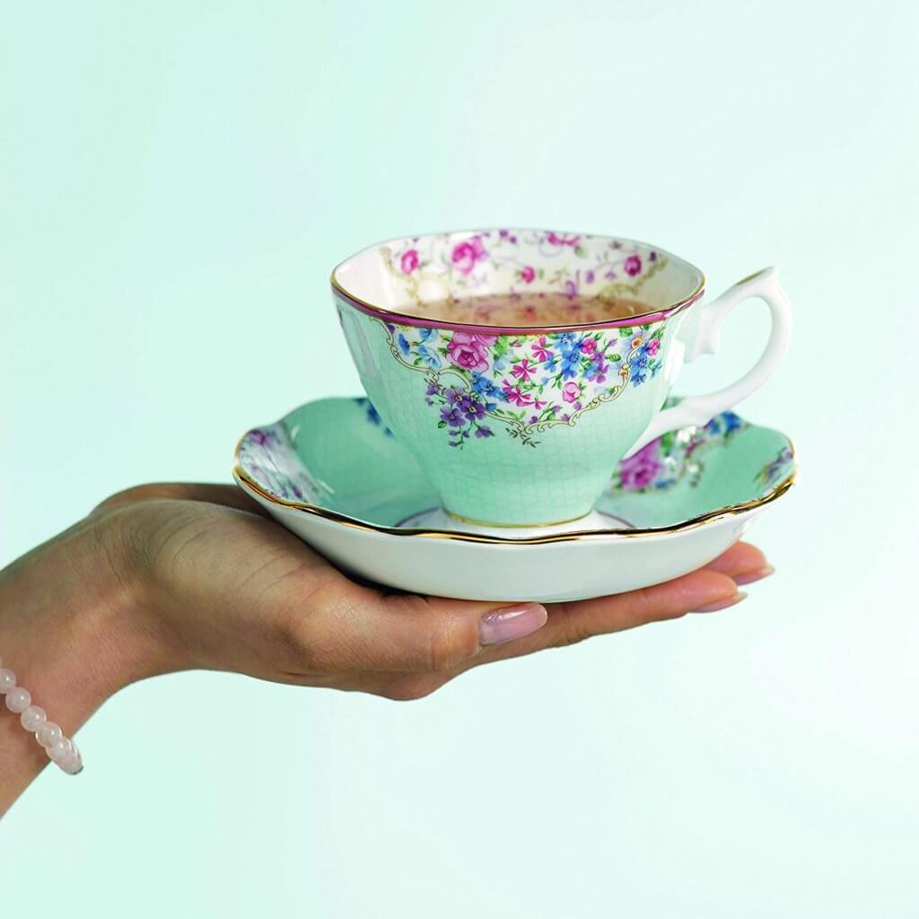 English high tea party teacup on hand