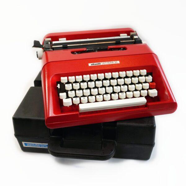 red olivetti lettera 35 typewriter