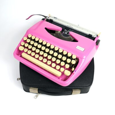 retro pink typewriter